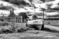 northumberland northumbria coast black white boulmer coble