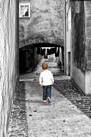 Berwick upon tweed black & white alleyway boy running